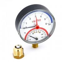 Термоманометр Uni-Fitt радиальный  10 бар, 120 С, диаметр 80 мм, 1/2