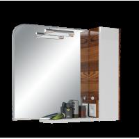 Шкаф зеркальный Иннато 80, орех с белым