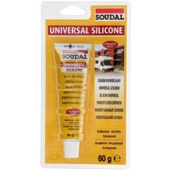 Герметик SOUDAL силикон санитарный бесцветный 60гр (120034)