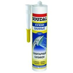 Герметик SOUDAL силикон санитарный нейтральный белый 300мл (118312)
