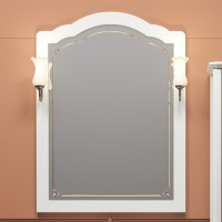 Зеркало OPADIRIS ЛОРЕНЦО 80 со светильником Рустика бронза Изабель белое